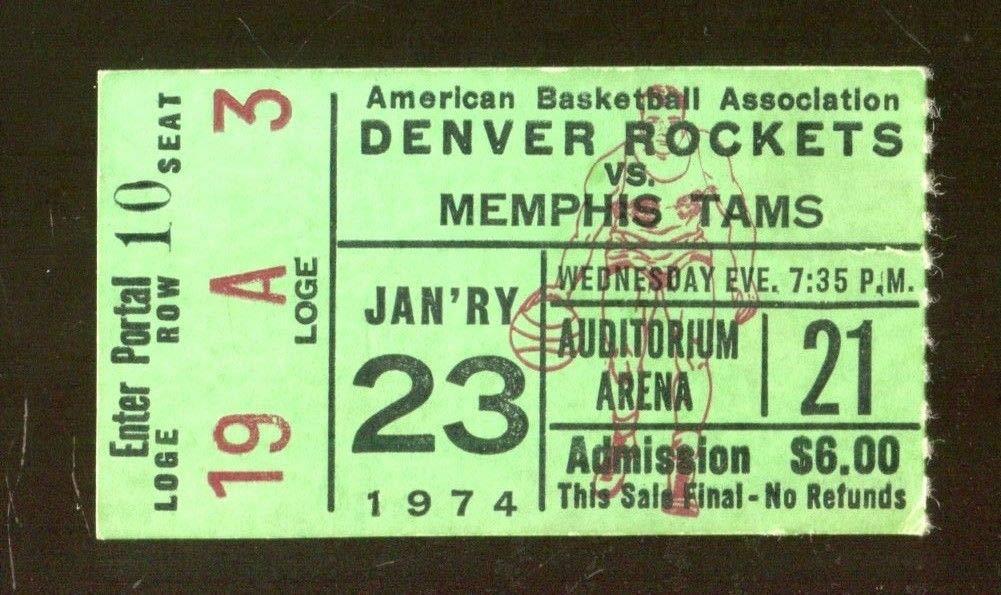 1974 Denver Rockets v Memphis Tams ABA Ticket 1/23 43349