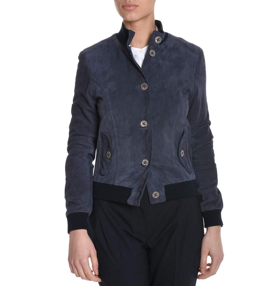 Eleventy Women's 980PL0009PEL1900811 bluee Leather Outerwear Jacket