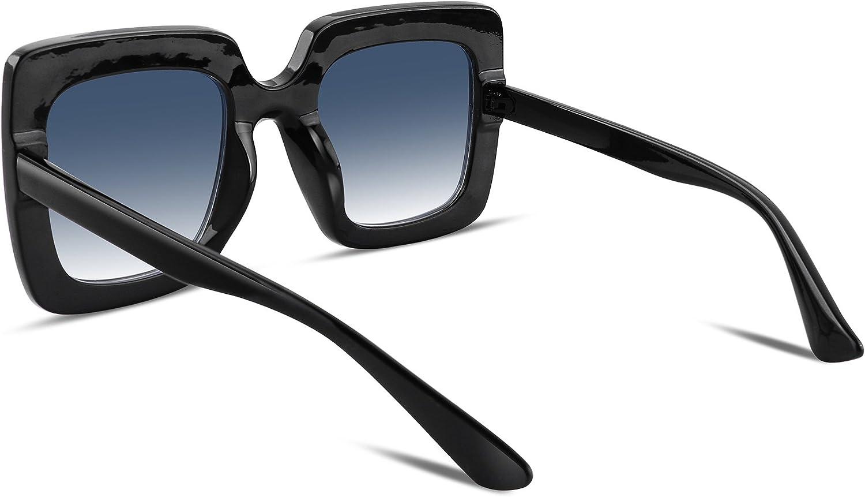 FEISEDY Occhiali da sole da donna in cristallo scintillante con montatura spessa quadrata oversize B2283