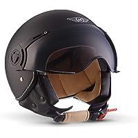 "Moto Helmets® H44 ""Matt Black"" · Jet-Helm · Motorrad-Helm Roller-Helm Scooter-Helm Bobber Mofa-Helm Chopper Retro Cruiser Vintage Pilot Biker Helmet · ECE Visier Schnellverschluss Tasche M (57-58cm)"