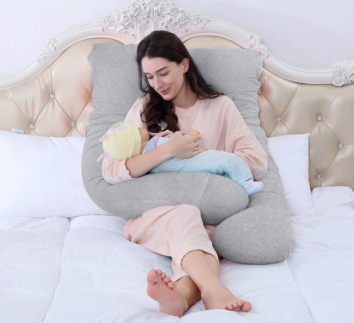 Seitenschl/äferkissen QUEEN ROSE U-f/örmiges Schwangerschaftskissen 140 x 78 cm, Baumwolle, Grau Lagerungskissen mit Abnehmbarem und Waschbarem Bezug