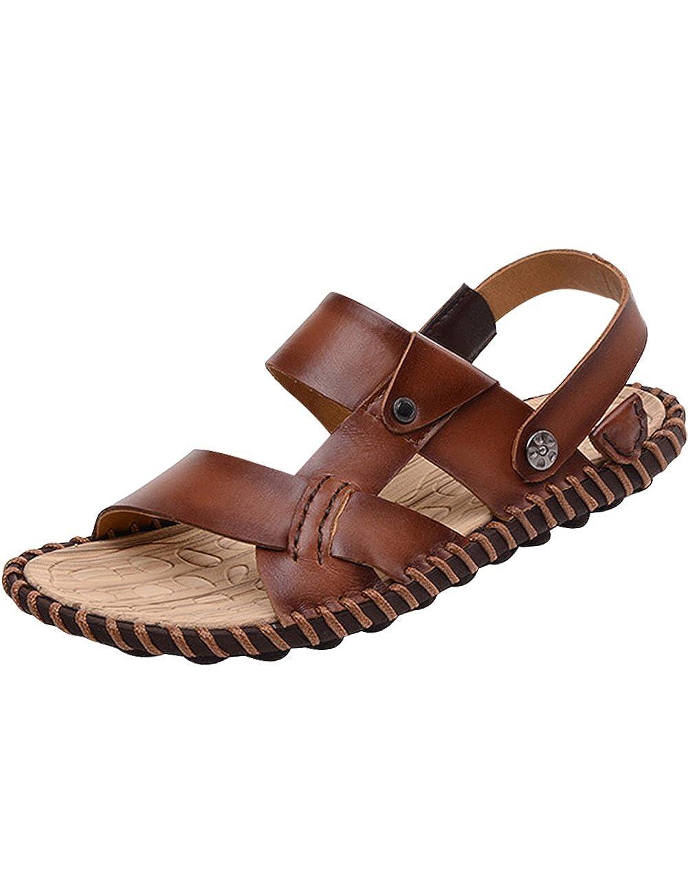 Youlee Herren Leder Flip Flops Slip on Sandalen 1 für den Sommer Style 1 Sandalen Dunkelbraun 553479