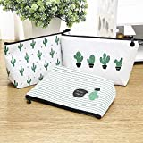 Cute Cactus Canvas Square Pencil Case Large Capacity Cosmetic Pouch Makeup Bag Zipper Students Stationery Pencil Box Storage Organizer Holder School Supplies Kids Boys Teen Girls