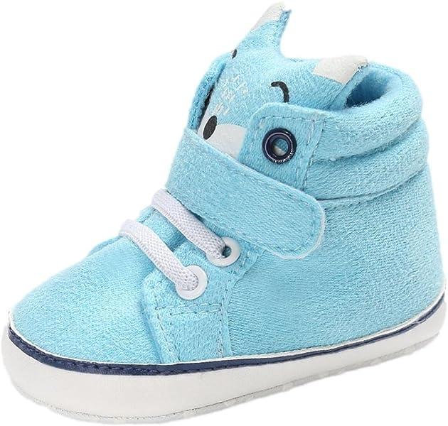c8de4a01ff167 Bonjouree Chaussures Premiers Pas Bébé Garçon Fille Souples Sneaker Hiver  antidérapant (12CM 6-