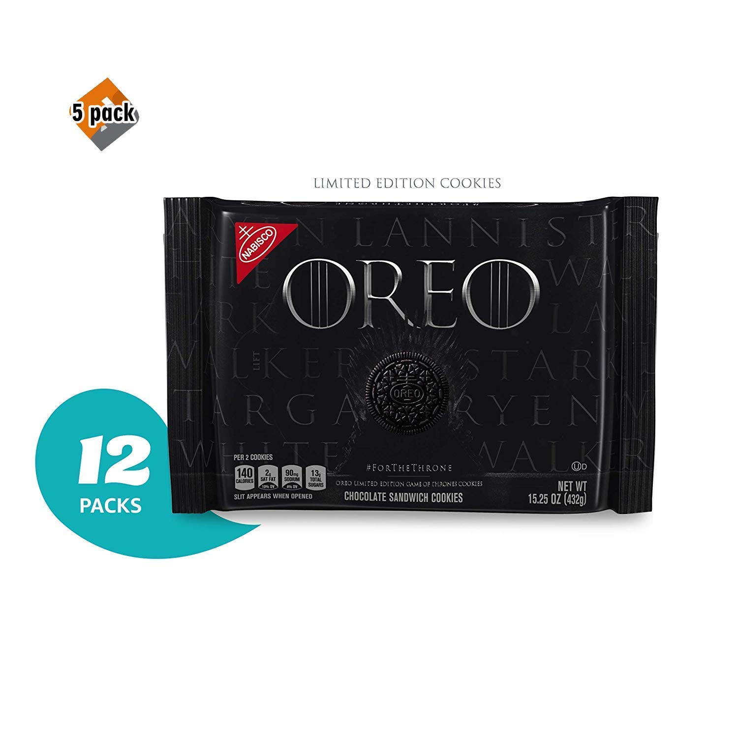 OREO Limited Edition Game of Thrones Themed Classic Chocolate Sandwich Cookies (Pack of 12) 5 Pack