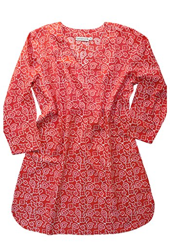 AV Hand Block Printed Cotton V Neck Tunic: Coral Red: SZ - Shop Nearest Coral
