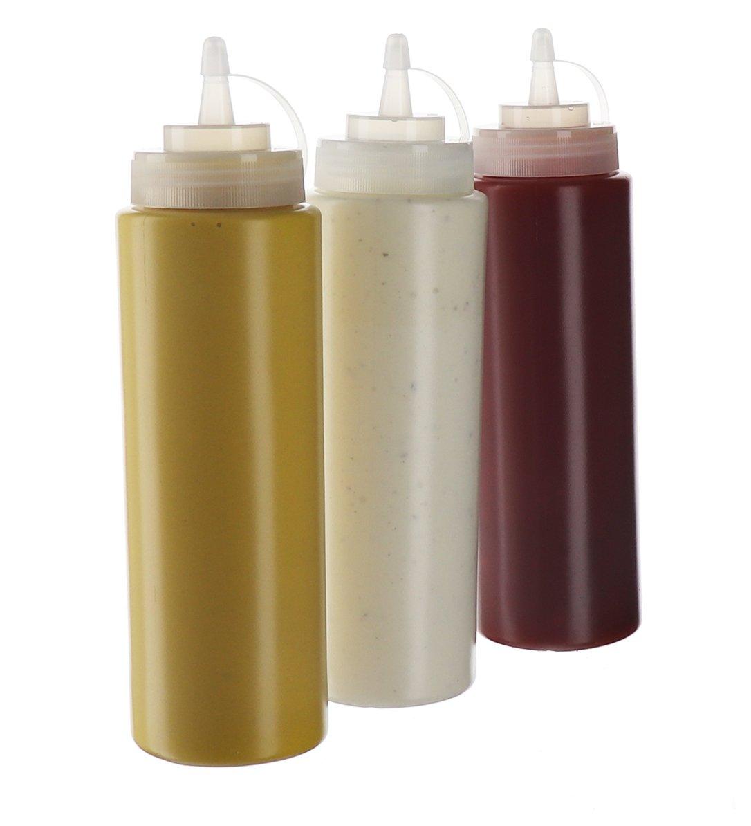 Oliven/öl Gew/ürzflaschen mit Drehdeckel 570 ml Mayo transparent 3 St/ück f/ür Ketchup-Senf Kunststoff hei/ße So/ßen