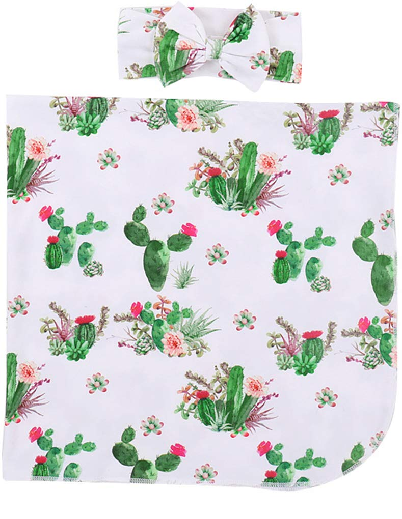 Infant Newborn Baby Cartoon Receiving Blankets Coming Home Blankets Outfit Boys Girls Swaddle Sleep Gown with Headband/Hat Set (75x95CM, Cactus)