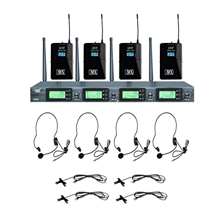 MX UHF 4 Channel Wireless Microphones   4 Lapel Body Pack Transmitter Microphones with Receiver   Variable Frequency