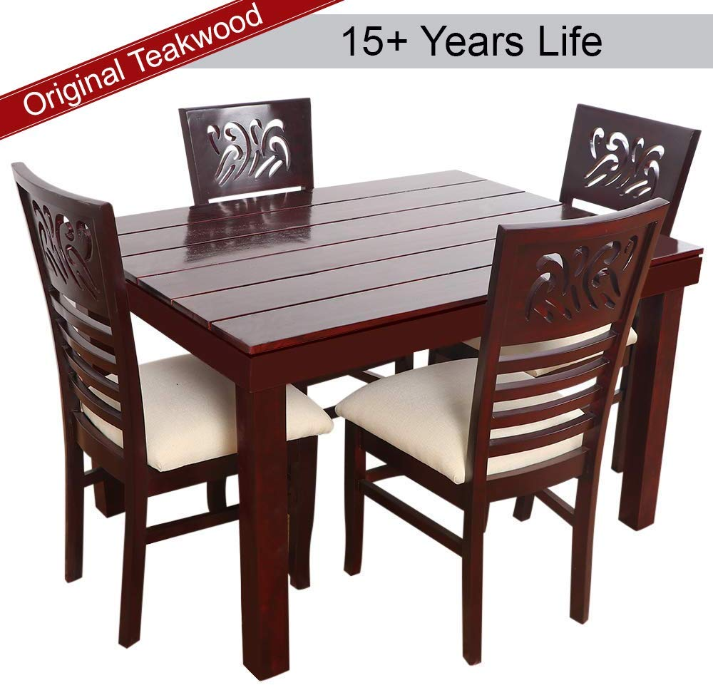 Furny mink teak wood dining table set 4 seater mohgany polish amazon in home kitchen