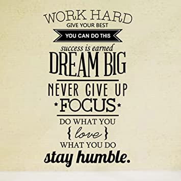 Ducklingup Wall Decal Quote Work Hard Dream Big Never Give Up