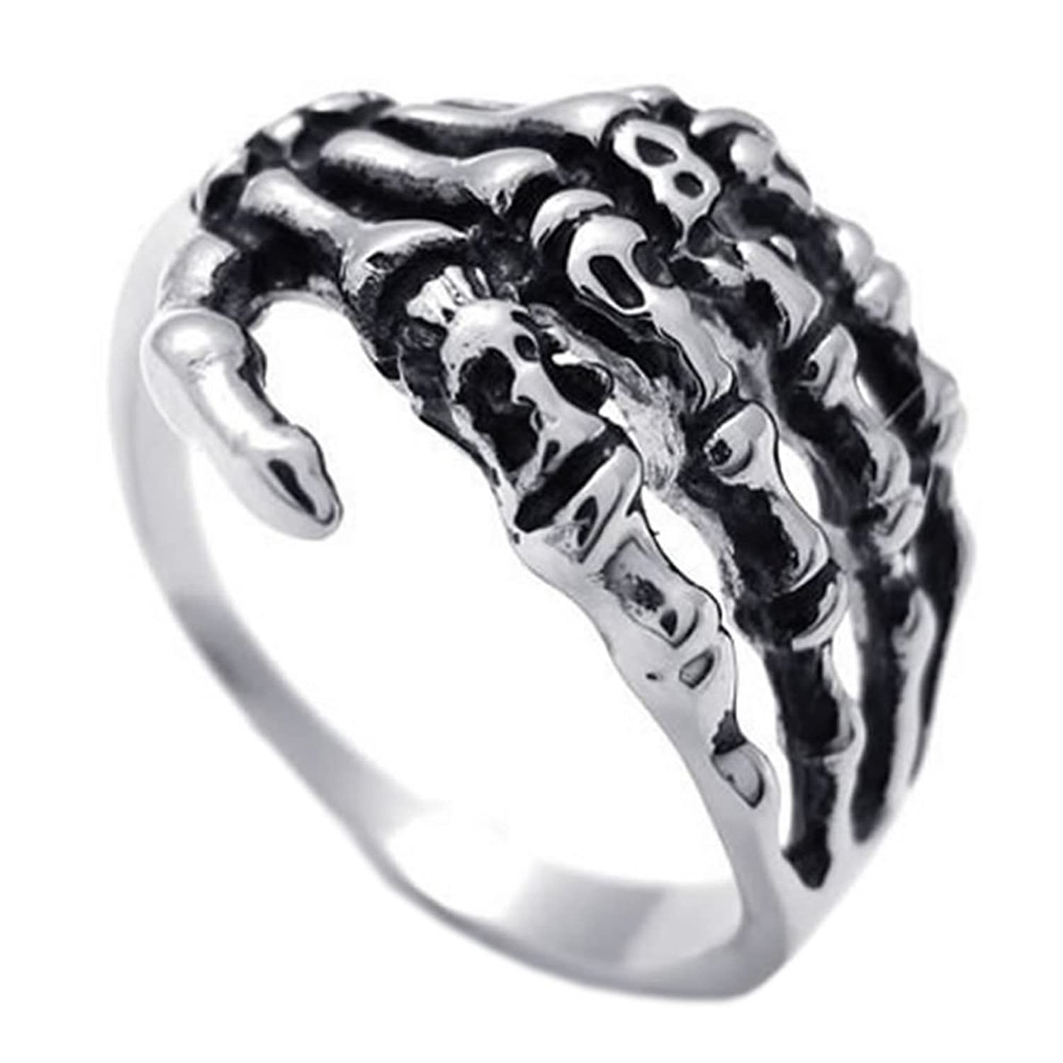 KONOV Mens Biker Tribe Gothic Stainless Steel Skull Skeleton Bone Hand Ring, Silver