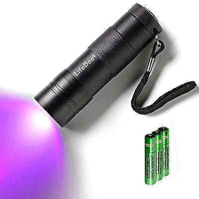 12 LED UV lampe torche, Kungix lampe de poche ultra violet détecteur d'urine et de taches d'animaux, 3 piles AAA inclus