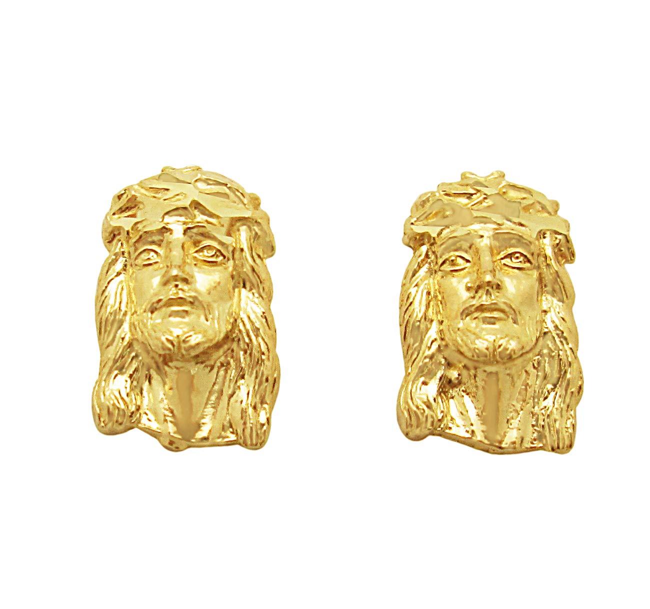 10k Yellow Gold Jesus Face Earrings Jesus Earrings