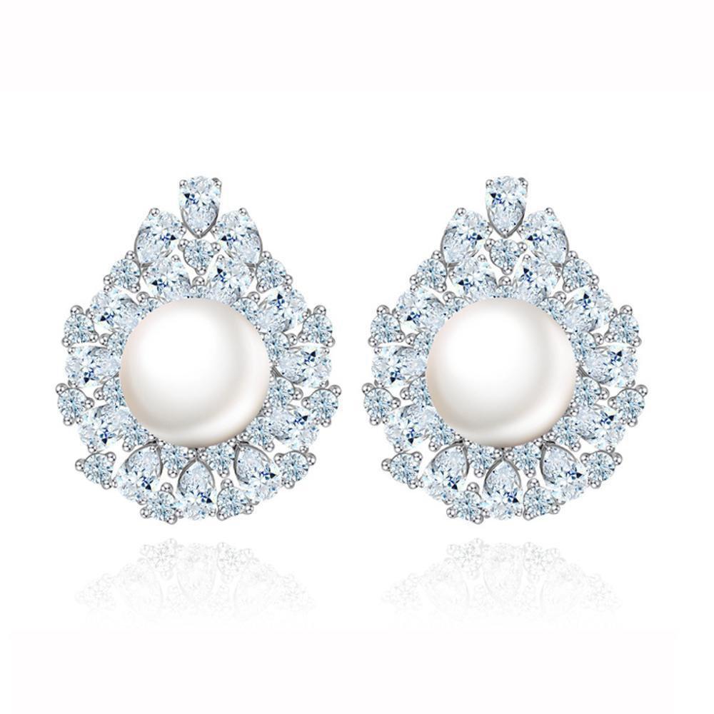 Maeryeインレイジルコン絶妙な真珠のイヤリング女性のイヤリング   B07F25MZYB
