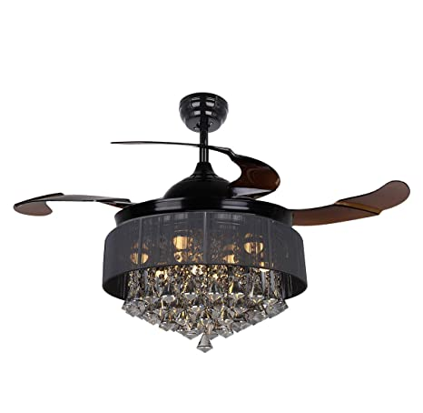 Parrot uncle ceiling fans with lights 42 modern black ceiling fan retractable blades crystal led