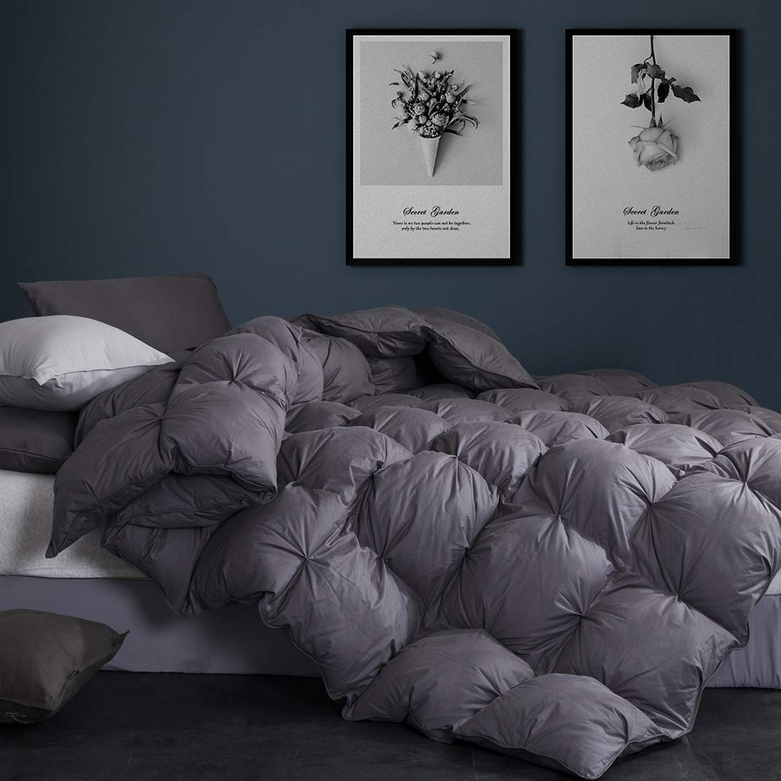 Goose Down Comforter Queen Size Duvet Insert 1200 Thread Count Hypoallergenic 100% Egyptian Cotton Cover 750+ Fill Power for All Seasons Cozy & Warm,Pinch Pleat Grey Comforter Queen-90x90Inches