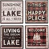 Primitives By Kathy 31001 Absorbent Stone Coaster Set, 4-Piece, Lake