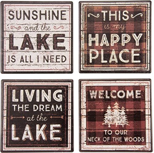 31001 Absorbent Stone Coaster Set, Lake