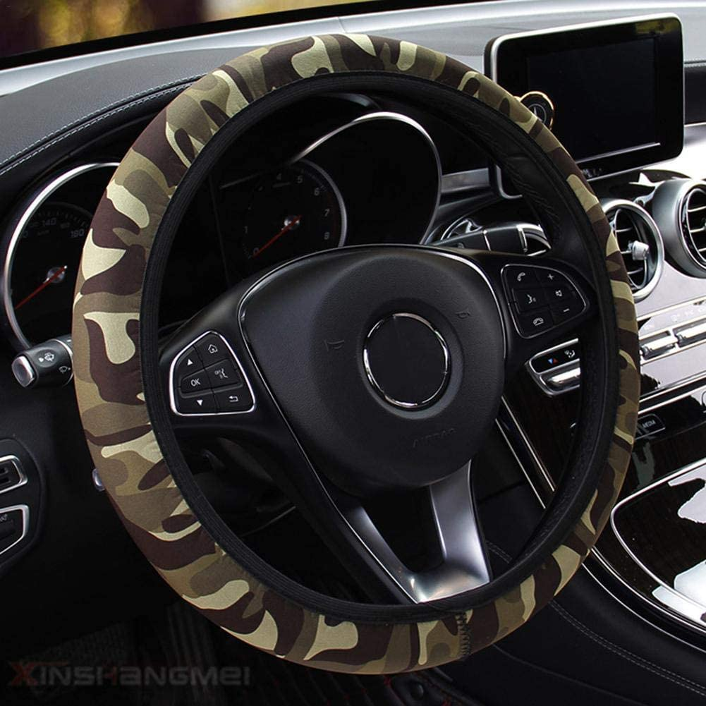 Car Steering Wheel Cover Camouflage Steering Wheel Covers Universal Anti-Slip Stretchy Protective Cover
