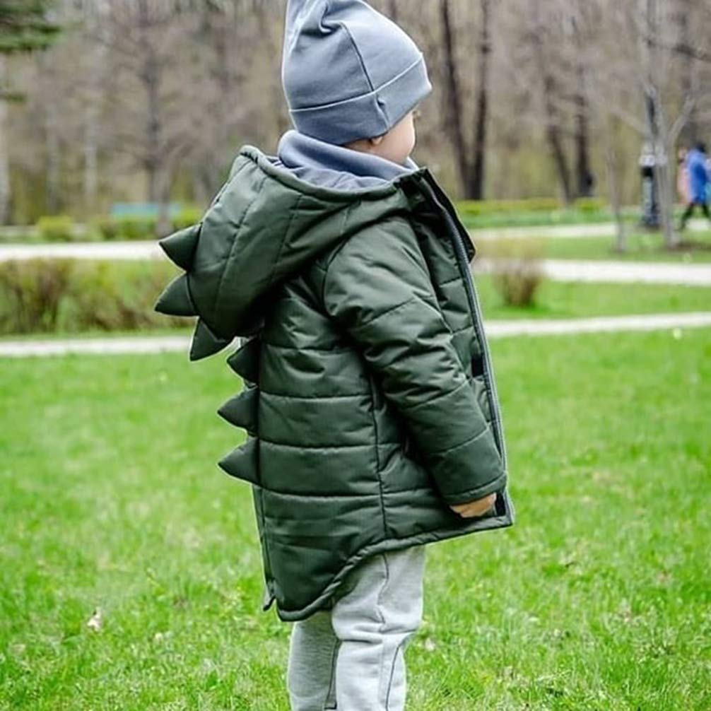 Baby Winter Coat Girl and Boy Zipper Hoodie Warm Jacket Cute 3D Dinosaur Outwear for 1-7Y Kid