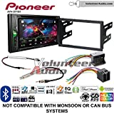 Volunteer Audio Pioneer AVH-201EX Double Din Radio Install Kit with CD Player Bluetooth USB/AUX Fits 2002 Volkswagen Golf, 2002 Jetta, 2002 Passat