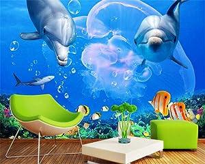 zrisic 3D Wallpaper Custom Wall Mural Stylish high Wallpaper Mediterranean Dolphin Great White Shark Underwater World TV Backdrop wallpaper-400X280CM