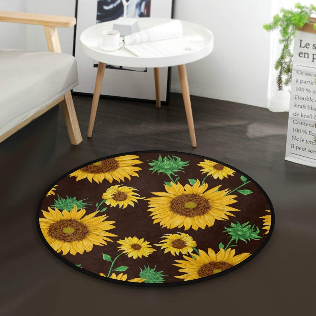 ALAZA Beautiful Sunflower Round Area Rug for Living Room Bedroom 3 Diameter 92 cm