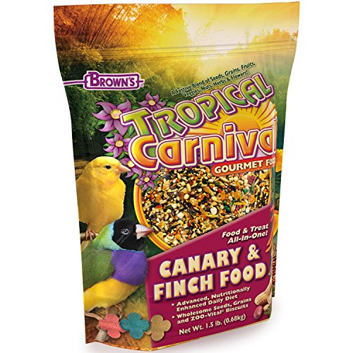 (F.M. Brown's Tropical Carnival Gourmet Canary and Finch Food, 1.5-lb Bag - Vitamin-Nutrient Fortified Daily Diet with Fruits, Veggies, Grains, Seeds, Herbs, and Flowers)
