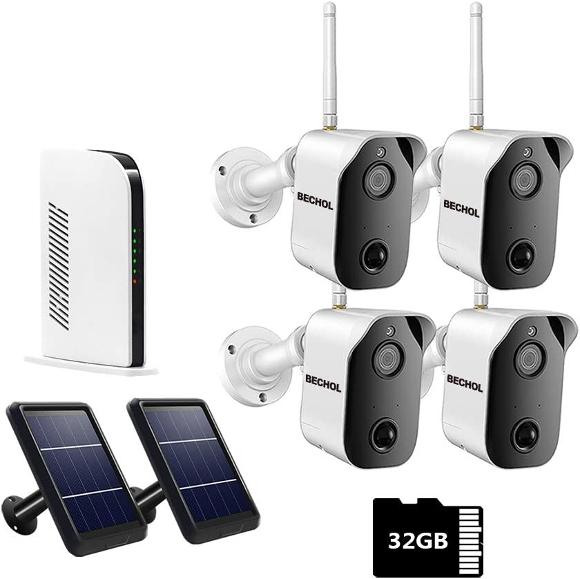 Bechol 1080P Wireless Security Camera System,Battery or Solar Panel Charging Camera,Indoor/Outdoor for Home Surveillance,Night Vision,PIR Motion Detection,2-Way Talk,Waterproof,Pre-Install 32G Card