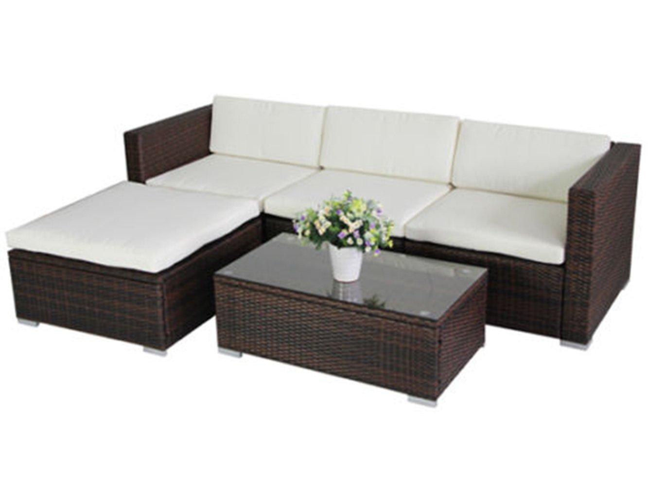 SSITG POLY RATTAN Lounge Gartenset braun Sofa Garten Garnitur Polyrattan Gartenmöbel