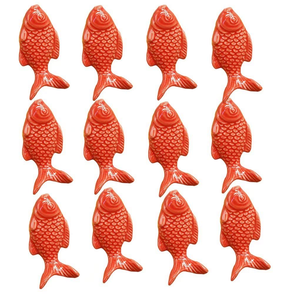 FirstDecor 12PCS Blue Cute Fish Shape Ceramic Door Knobs, Candy Color Baby Kid's Children's Furniture Handles Pulls for Cabinet Drawer Cupboard Dresser Closet Bookcase etc with Screws