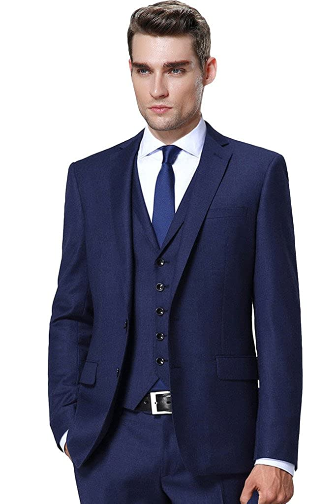 Hanayome Men's Modern Fit 3-Piece Suit Blazer Jacket Tux Vest & Trousers Set U102 U102A1