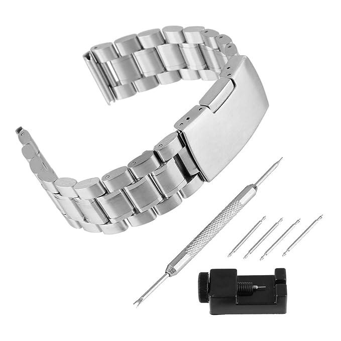 BEWISH 20mm Edelstahl Uhrenarmband Solide Ersatzband Riemen Smart Watch Strap Band Faltschließe mit Uhrmacherwerkzeug Stiftau