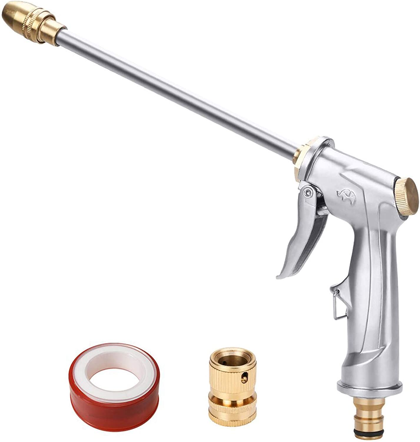 Amazon Com Water Hose Nozzle Heavy Duty Metal Spray Gun 360 Rotating Water Adjustment High Pressure Leak Proof Pistol Grip Sprayer For Car Washing Plants Watering Pets Shower Cleaning Long Silver Home Improvement