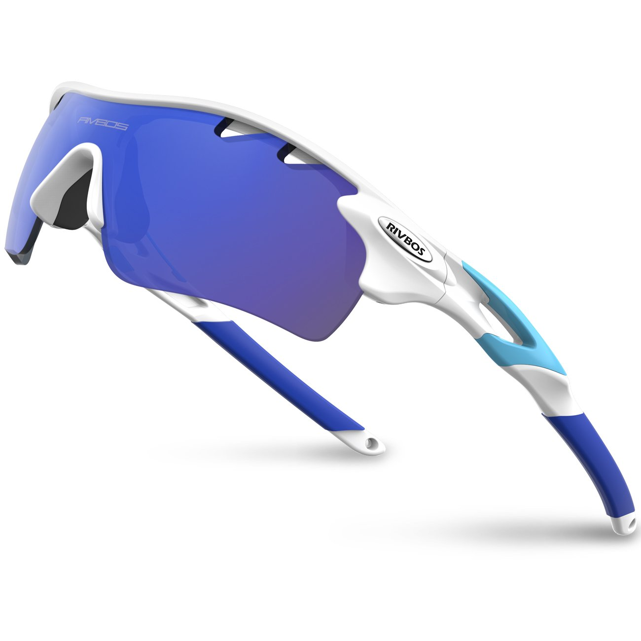 RIVBOS 801 POLARIZED Sports Sunglasses with 5 Interchangeable Lenses (White&Blue) by RIVBOS