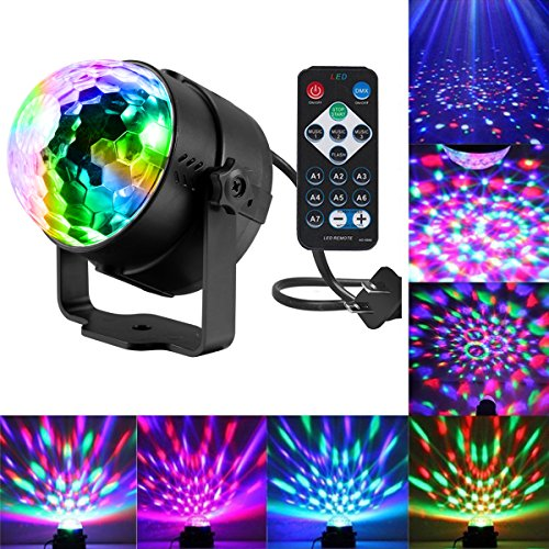 Disco Ball Lights, Sound Activated Party Lights with Remote Control DJ Lighting,Laser Lights,3W Disco Ball,Strobe Lights 7 Modes Stage Par Light for Wedding Show,Xmas,Karaoke,Club,Pub,Party,Holiday -
