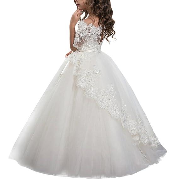 IBTOM CASTLE Flower Girls Dress Wedding Ruched Ruffled Sleeve Kid Pageant Dress A-line Chiffon