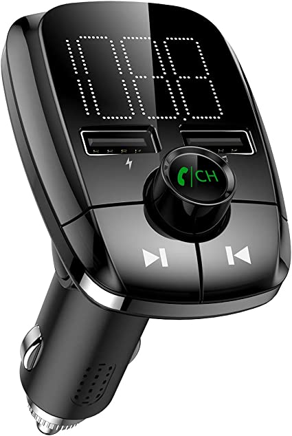 Criacr Bluetooth FM Transmitter for Car Hands Free Calling QC3.0 Quick Charge Dual USB Car Charger Wireless Radio Transmitter Adapeter Car Kit Support USB Flash Drive Music Player for Smartphones