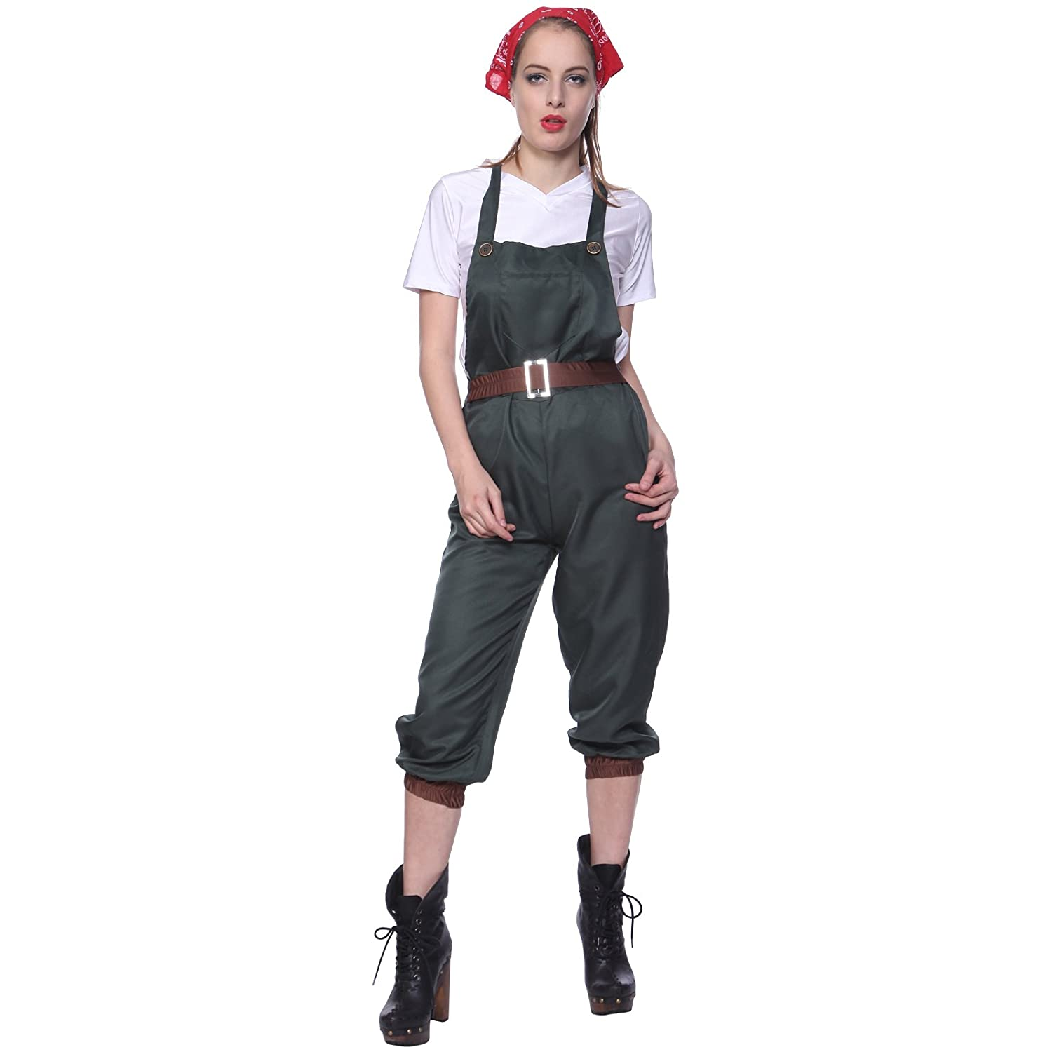 Rosie the Riveter Costume & Outfit Ideas WW2 1940s Land Girl Costume World War 2 Wartime Uniform Fancy Dress $14.99 AT vintagedancer.com
