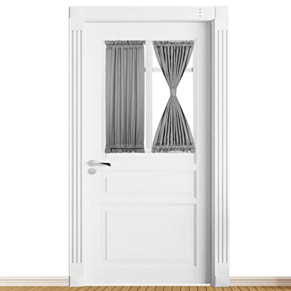 Panovous Grey French Door Curtains For Small Windows Elegant Curtains For  Door Window Sidelight Curtain Grey
