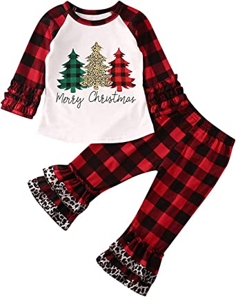 Amazon Com Toddler Baby Girl Christmas Outfit Merry Xmas Tree Shirt Tops Red Plaid Leopard Bell Bottom Pants Winter Clothing Set Clothing