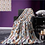 Feather cool blanket Various Shaped and Sized Tribal Feathers with Vibrant Color Scheme Romantic Image Pattern Multicolor size:60''x80''