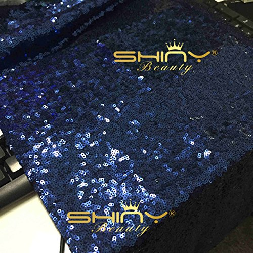 ShinyBeauty Navy Blue Runner 14x108-Inch Navy Blue Baby shower Decorations Sequin Table Runner 108