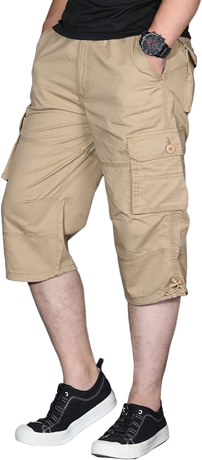 KEFITEVD Mens Casual 3//4 Cargo Shorts Elastic Waist Loose Multi Pockets Shorts Cotton Three Quarters Capri Pants