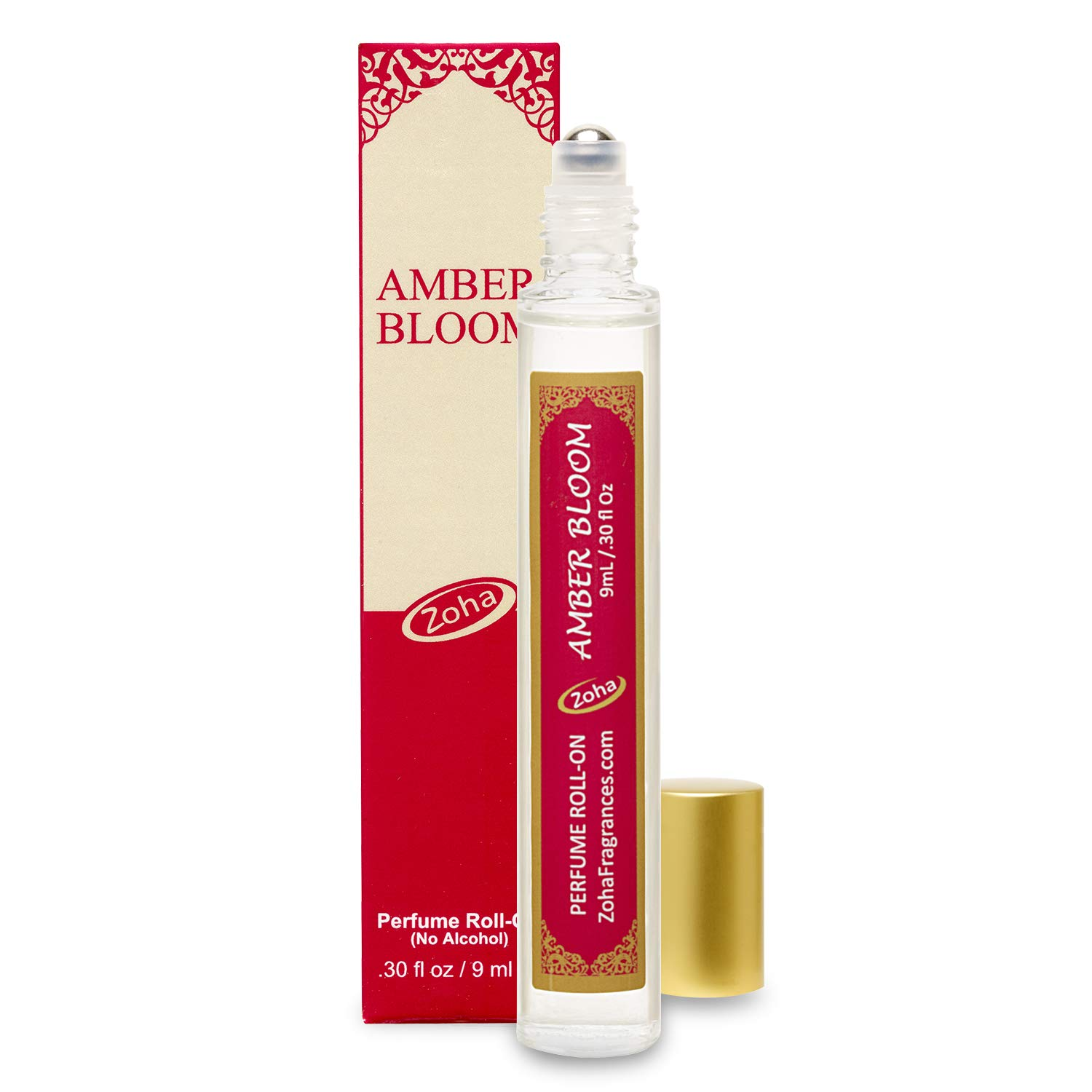 Amber Bloom Perfume Oil Roll-On (No Alcohol) - Essential Oils and Clean Beauty Perfumes for Women and Men by Zoha Fragrances, 9 ml / 0.30 fl Oz