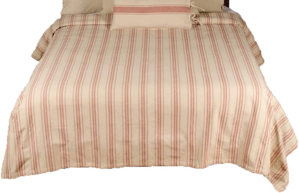 Home Collections by Raghu 94x104 Grain Sack Stripe Oat-Barn Red Bed Cover Queen