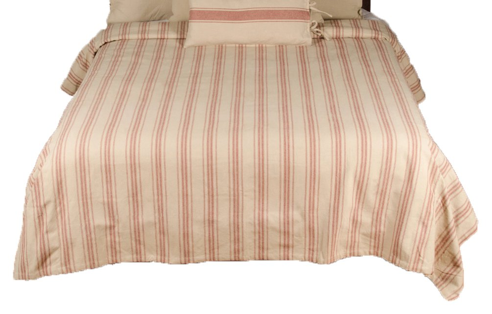 Home Collections by Raghu 94x104 Grain Sack Stripe Bed Cover Queen, Oat and Barn Red B0797QRB7T