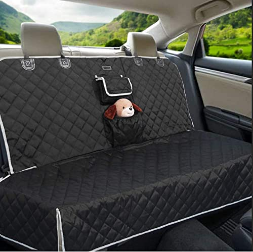 BRONZEMAN 100 Waterproof Bench Car Seat Protector – Tissue Box Storage Bag Car Seat Protector, Heavy-Duty and Anti-Slip Back Seat Cover for Dogs and Kids,Universal Size for Car, Truck or SUVs