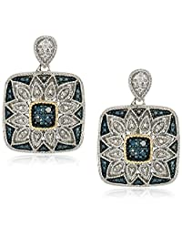 Sterling Silver, 14k Gold, and Diamond Square Earrings (1/10 cttw)